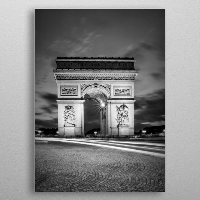 The Arc de Triomphe on Place Charles-de-Gaulle in Paris was erected between 1806 and 1836. Enjoy an impressive monochrome view after sunset. metal poster