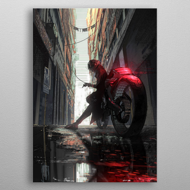 Respite in an alley way after a long night's work metal poster