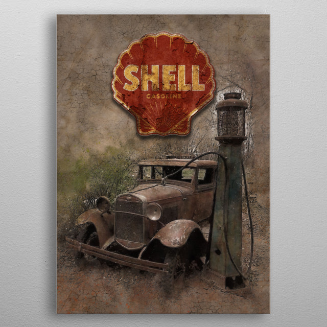 An abandoned oldtimer at a gas pump with an old plate of the station. metal poster
