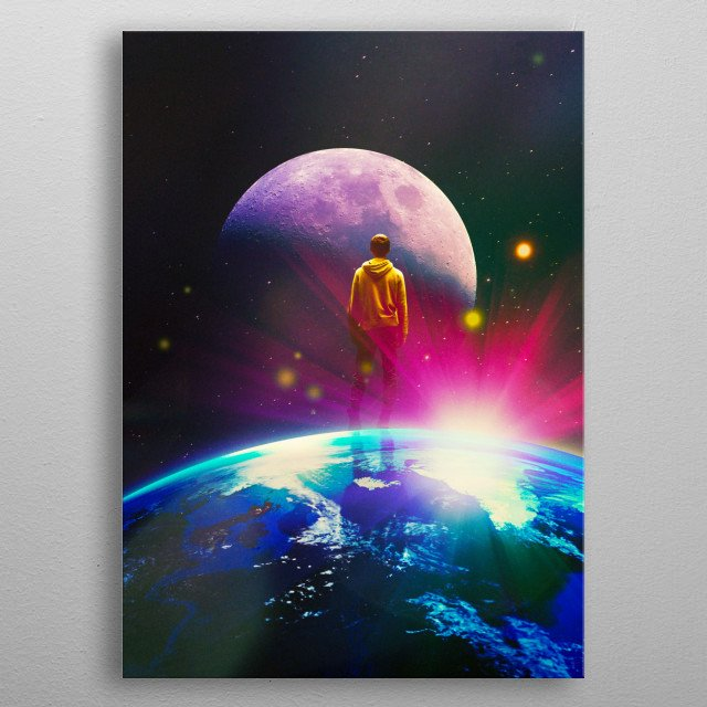 surreal scifi digital collage metal poster