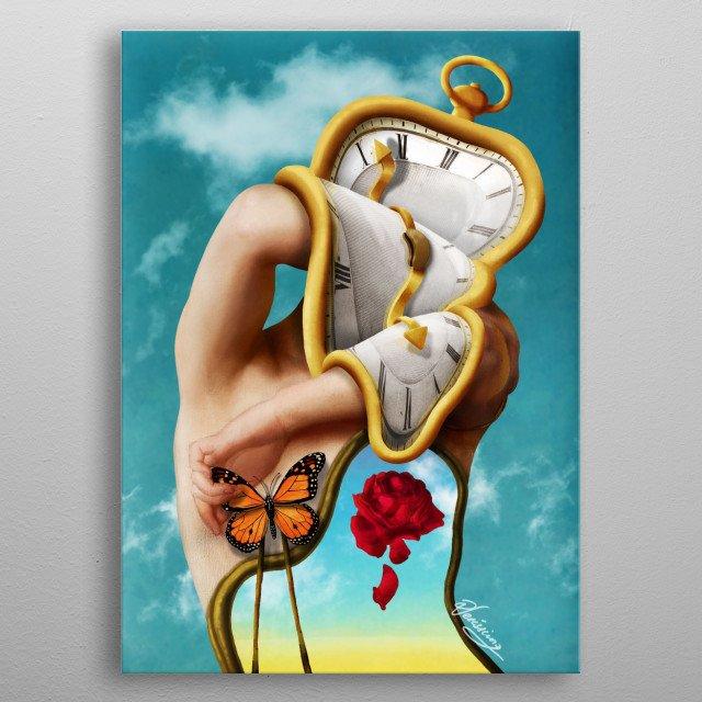 Digital painting and collage inspired by Salvador Dali's works. metal poster