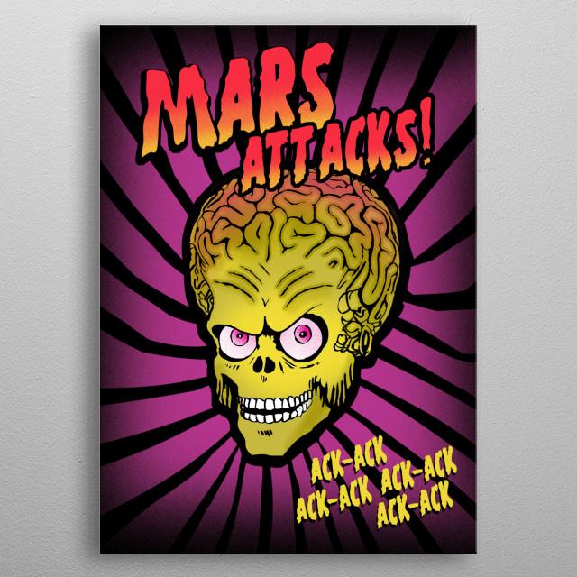 Mars Attacks movie art inspired metal poster
