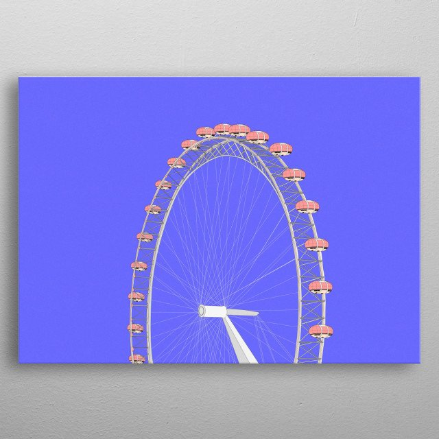 Ferris wheel in illustrated style. Represents calm and relaxation. metal poster