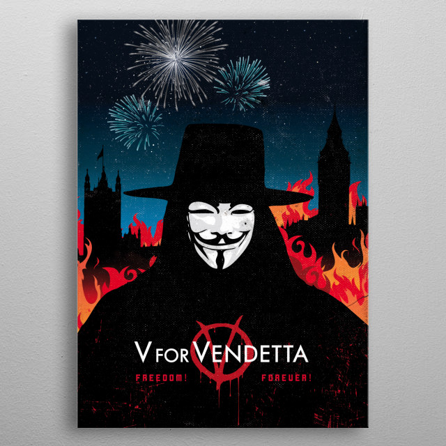 Alternative V for vendetta movie art inspired metal poster