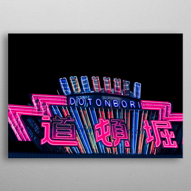 Photography of neon signs in Dotonbori Osaka Japan, edited cyber punk look, pink and blue lighting metal poster