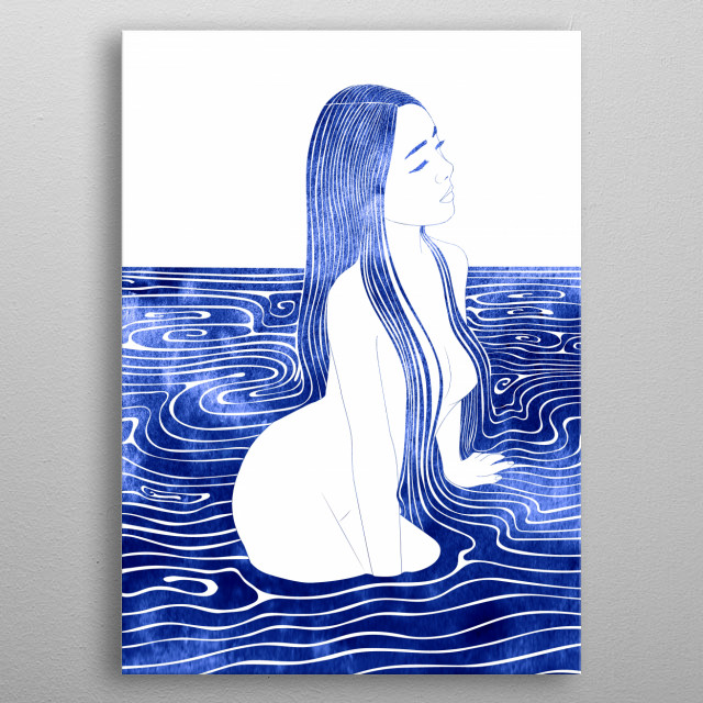 A mythological nereid. One of the daughters of the Nereus, the Old Man of the Sea metal poster