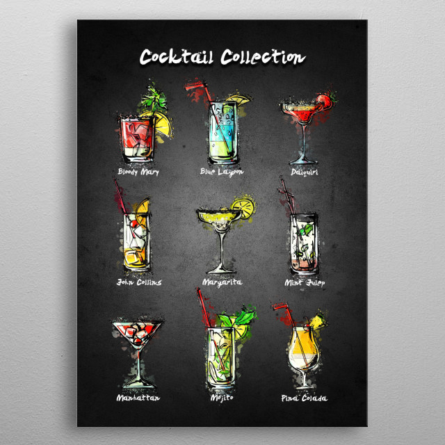 Cocktail Collection  with acrylic effects metal poster