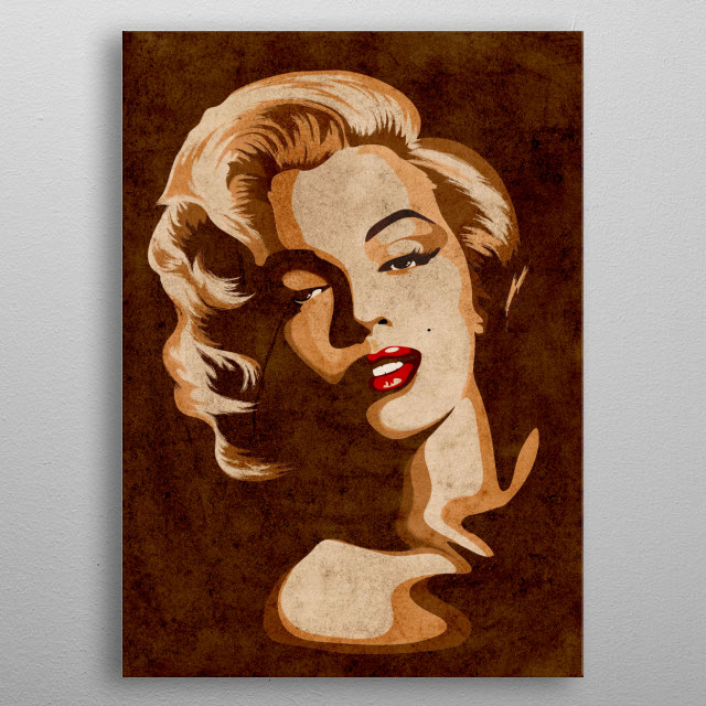 Beautiful Marilyn Vintage Portrait created on Digital Art. Charming, Fragile and Sensual Beauty of the Legendary Actress. metal poster
