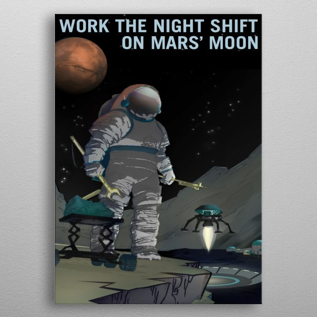 Fantasy recruiting poster for the Night Shift on Mars' Moon metal poster