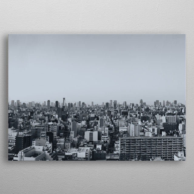 High resolution panoramic cityscape view of Osaka Japan skyscraper in black and white. This is a crop of the ultra-wide panorama photography metal poster