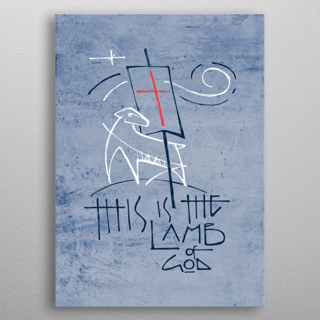 Hand drawn vector illustration or drawing of a Lamb representing Jesus Christ and religious phrase: This is the Lamb of God metal poster