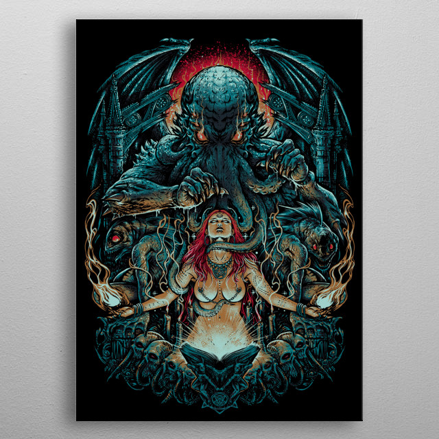 Illustration of a red hair Witch invoking the Great Old One Cthulhu by using the Necronomicon. metal poster