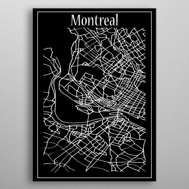 Montreal Map metal poster