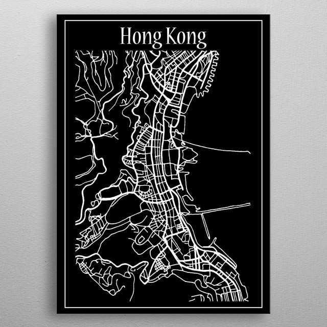 Hong Kong Map metal poster