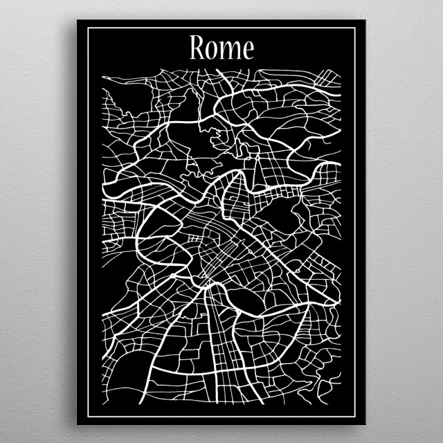 Rome Map metal poster