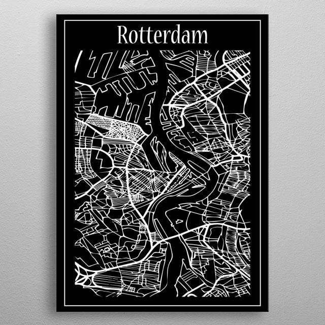 Rotterdam Map metal poster