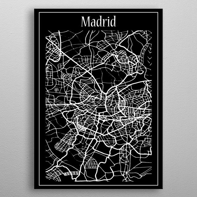 Madrid Map metal poster