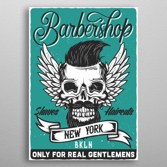 New York Hipster Barber Shop Vintage Poster metal poster