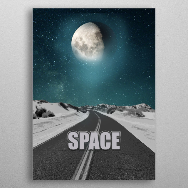 Road to the night sky. Fantastic minimalism. metal poster