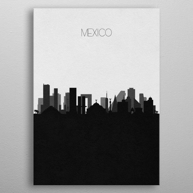 Black and white skyline illustration of Mexico. This minimalistic poster features famous landmarks and buildings of the city. metal poster
