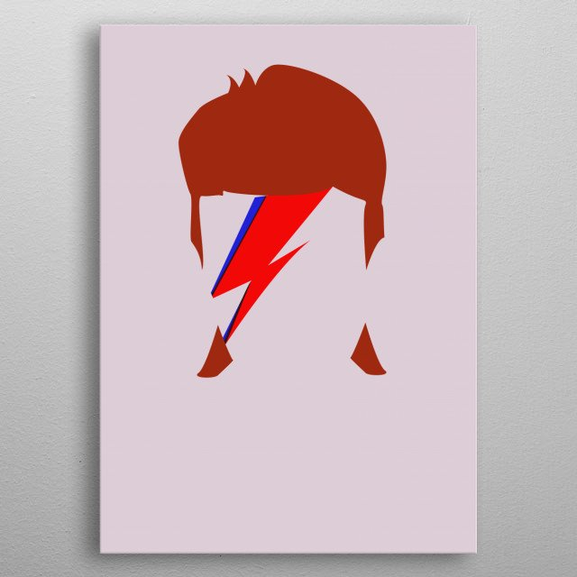 Illustration of David Bowie. metal poster