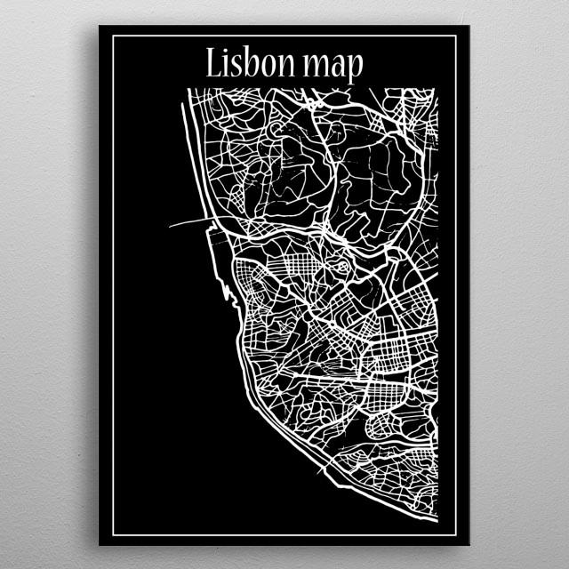 Lisbon Map metal poster