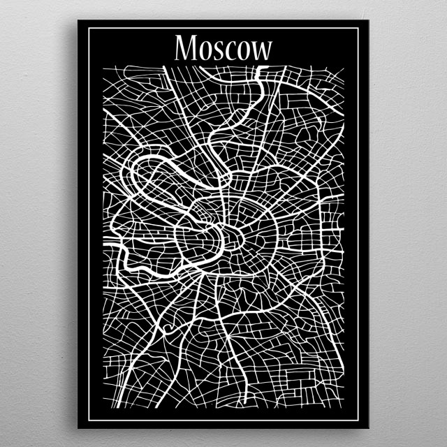 Moscow Map metal poster