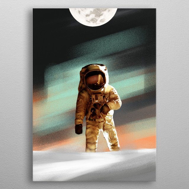 a lone cosmonaut landed on the ground. Weather conditions were not the most pleasant metal poster