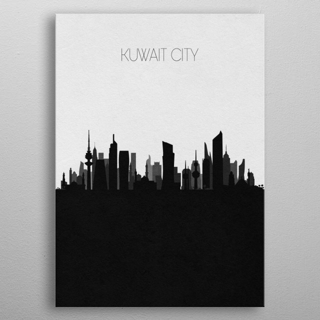 Black and white skyline illustration of Kuwait City. This minimalistic poster features famous landmarks and buildings of the city. metal poster