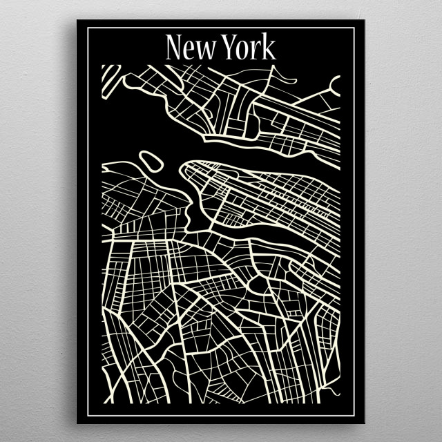 New York Map metal poster