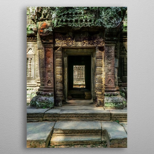 Entrance to the  ancient pretty temple in Cambodia metal poster