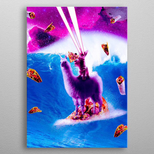 Pick up this funny taco pizza cat design. metal poster