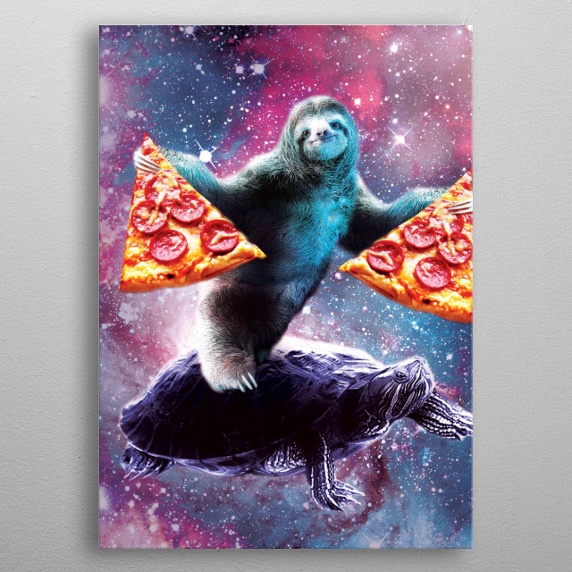 Pick up this funny galaxy sloth on turtle design. metal poster