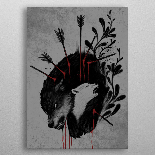 Whatever happens, Mother will protect her baby She is a hero metal poster