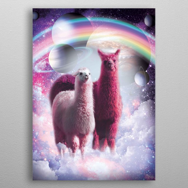Pick up this awesome galaxy llama design. metal poster