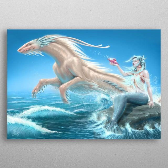 Digital painting of a mermaid summoning golden water dragon. metal poster
