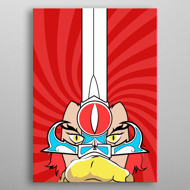 "illustration inspired by Lion-O (voiced by Larry Kenney) is the son of Claudus, and is the leader and hereditary ""Lord of the ThunderCats"".  metal poster"
