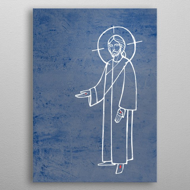 Hand drawn illustration or drawing of Jesus Christ with open hands metal poster