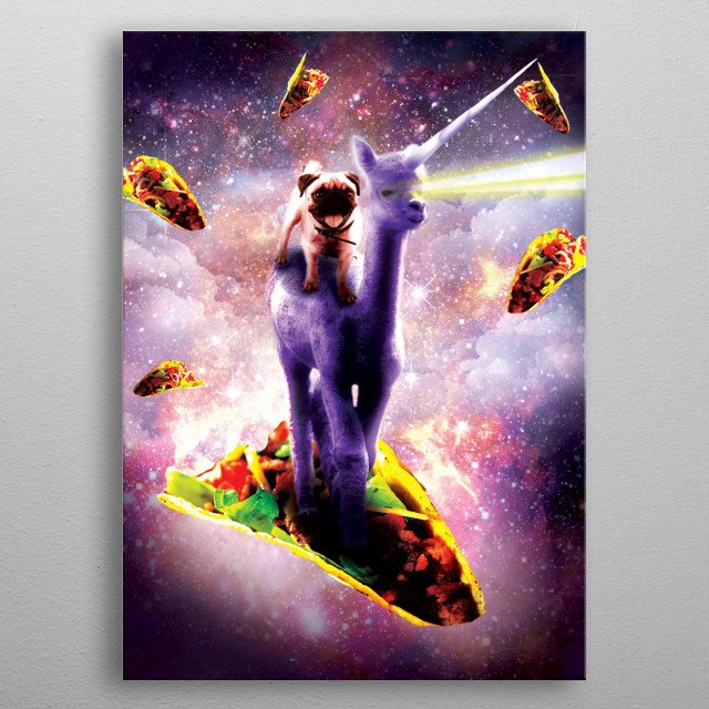 Pick up this funny space unicorn taco design. metal poster