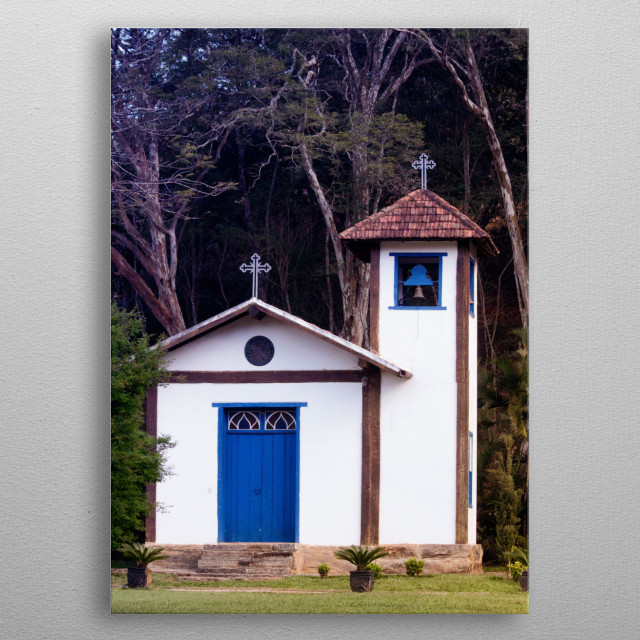 Small farm church in Brazil metal poster