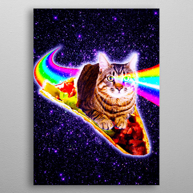 Pick up this funny hipster design with an outer space kitty cat surfing on taco. metal poster