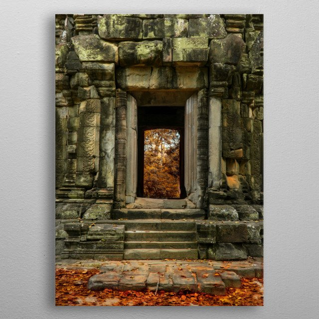 Entrance to the temple in Cambodia metal poster