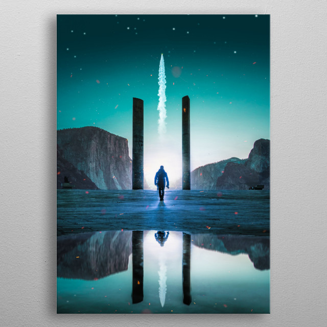 A colorful piece perfect for space lovers. metal poster