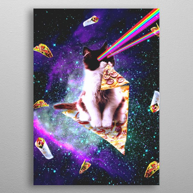 Pick up this funny galaxy kitty cat eating pizza design. metal poster