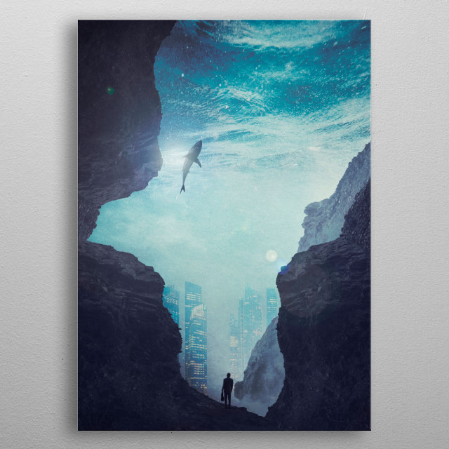 Surreal underwater scenery with a business man heading for the city. metal poster