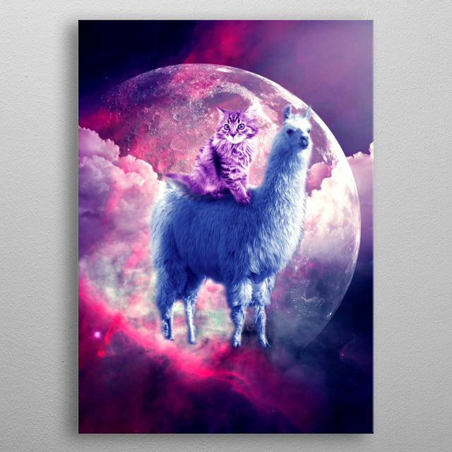 Pick up this awesome cosmic cats on llamas design. metal poster