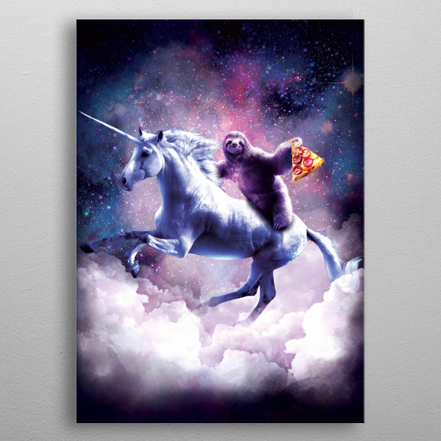 Pick up this funny space sloth design. metal poster