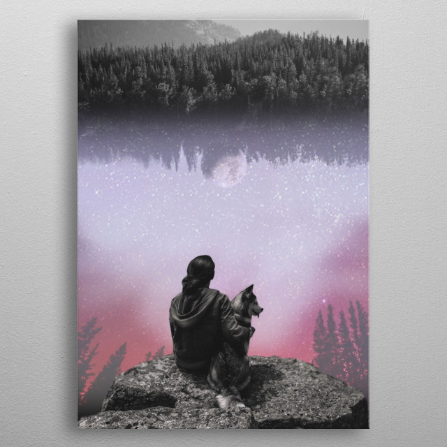 cosmic reflection in water metal poster
