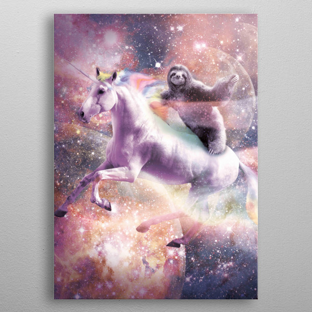 Pick up this funny awesome galaxy sloth design. metal poster