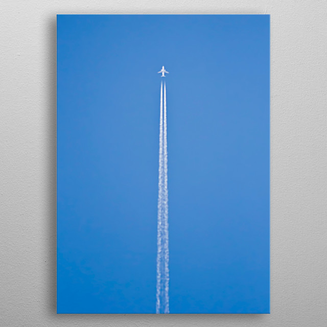 Airplane with nice straight contrail  metal poster